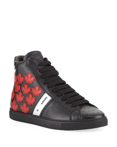 Men's Leather High-Top Sneakers w/ Maple Leaf Patches