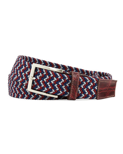 Men's Sport Stretch Belt with Crocodile-Trim, Wine