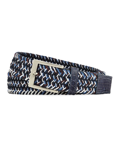 Men's Sport Stretch Belt with Crocodile-Trim, Blue