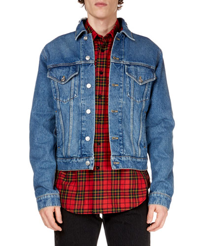 Men's Campaign Embroidery Denim Jacket