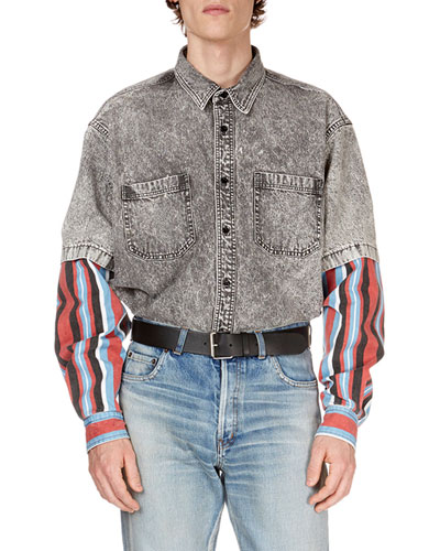 Men's Gray-Washed Denim Shirt with Striped Trim