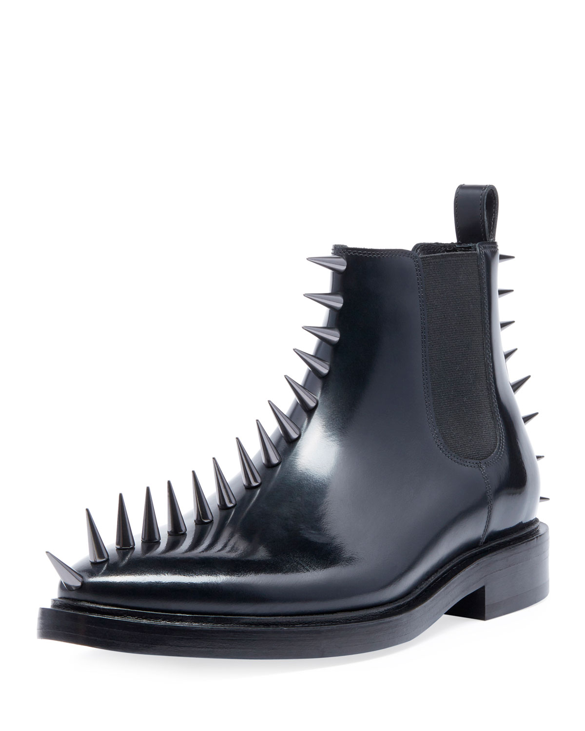 Men's Spikes Leather Combat Boots