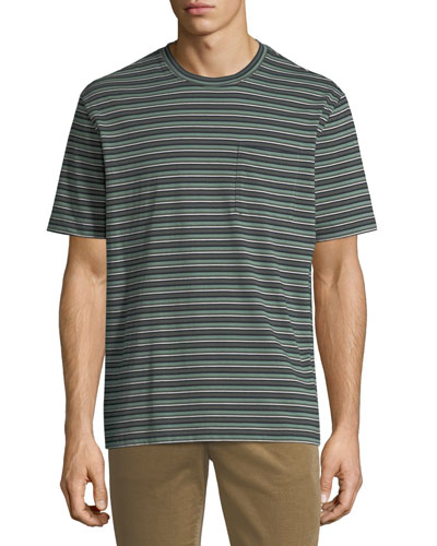 Men's Striped Crewneck Pocket T-Shirt