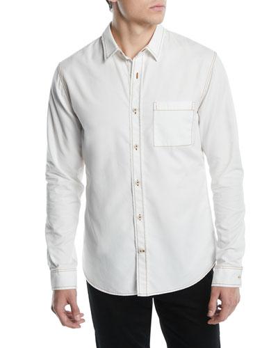 Men's Contrast-Stitch Button-Down Shirt
