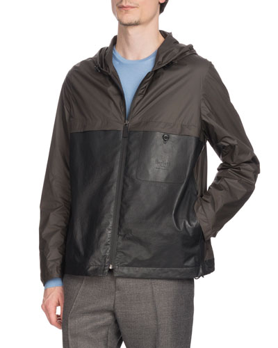 Men's Nylon & Leather Zip-Front Bomber Jacket