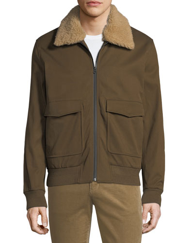 Men's Shearling-Trim Bomber Jacket