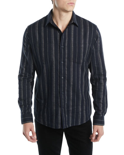 Men's Striped Flannel Button-Down Shirt