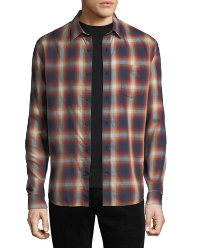 Men's Shadow Plaid Long-Sleeve Shirt