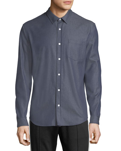Men's Button-Front Long-Sleeve Twill Shirt