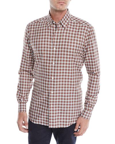 Men's Woven Plaid Button-Down Shirt