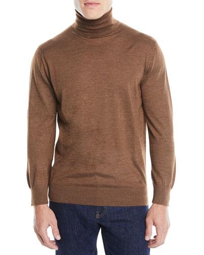 Men's Textured Cashmere-Silk Turtleneck Sweater