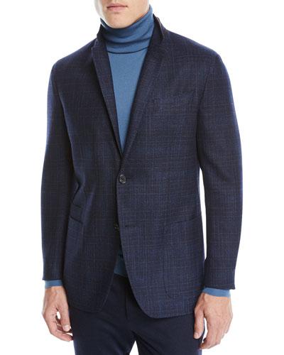 Men's Wool-Silk Check Two-Button Blazer Jacket