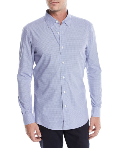Men's Woven Micro-Check Sport Shirt