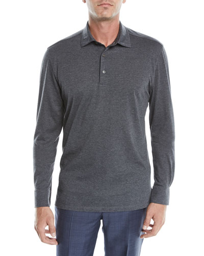 Men's Cotton-Blend Long-Sleeve Polo Shirt