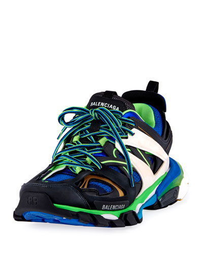 Men's Runway Track Sneakers, Blue/Green