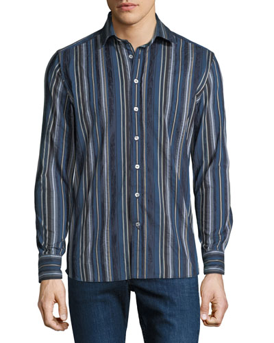 Men's Striped Cotton Sport Shirt