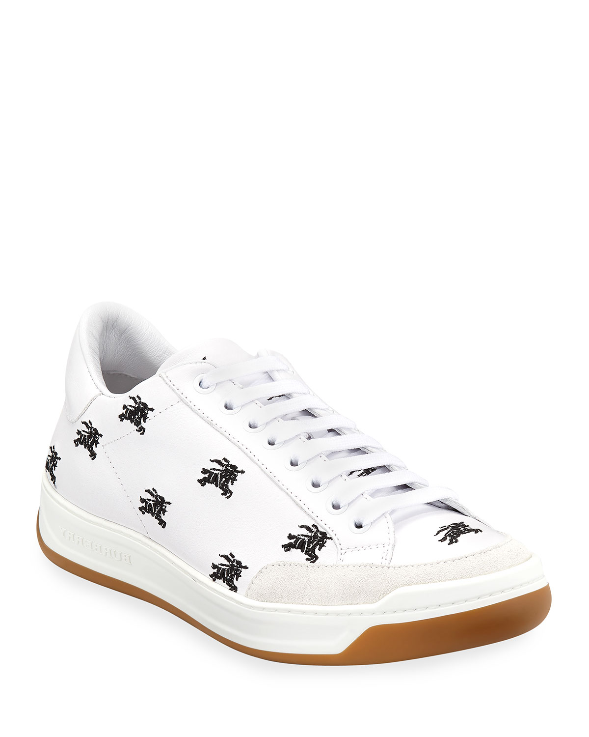 Men's Equestrian Knight Logo Leather Low-Top Sneakers