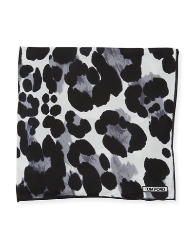 TOM FORD Animal-Print Silk Pocket Square