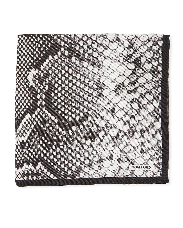 Snake-Print Silk Pocket Square