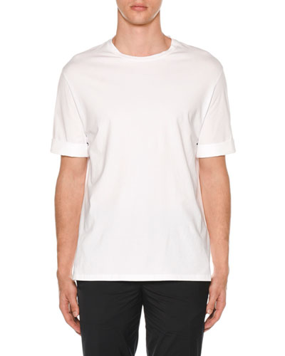Men's Poplin-Trim Jersey T-Shirt