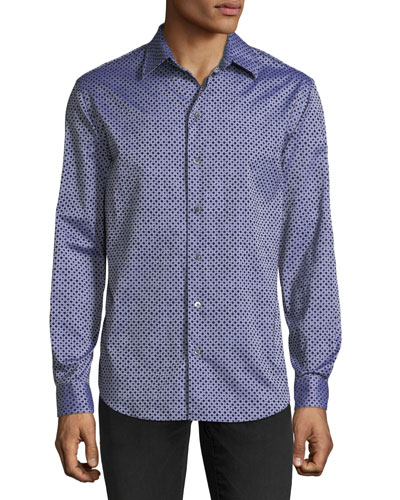 Men's Diamond-Pattern Flocked Long-Sleeve Woven Shirt