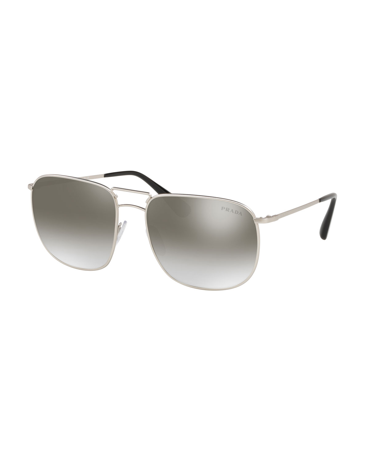 23f609f9a0 PRADA MEN S SQUARE METAL AVIATOR SUNGLASSES - MIRRORED LENSES