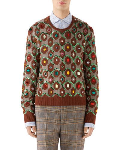 2a5e57e63 Gucci Sweater. Men's Jewel-Embellished Jacquard Sweater
