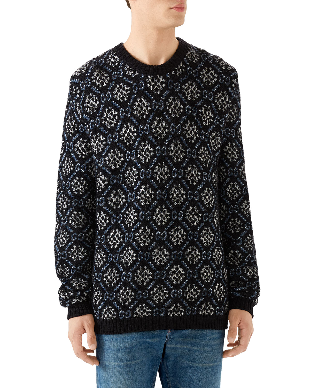 Men's Graphic Pattern Wool-Blend Sweater