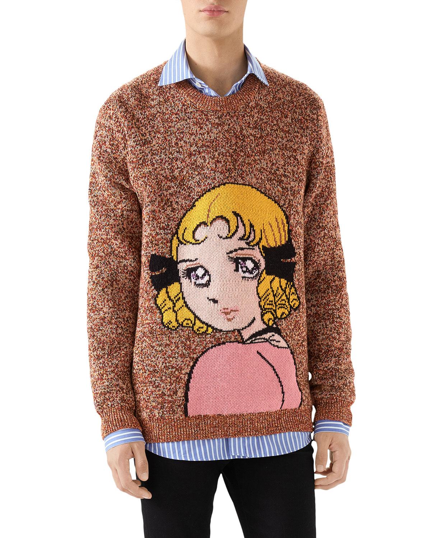 Men's Girl-Graphic Heathered Sweater