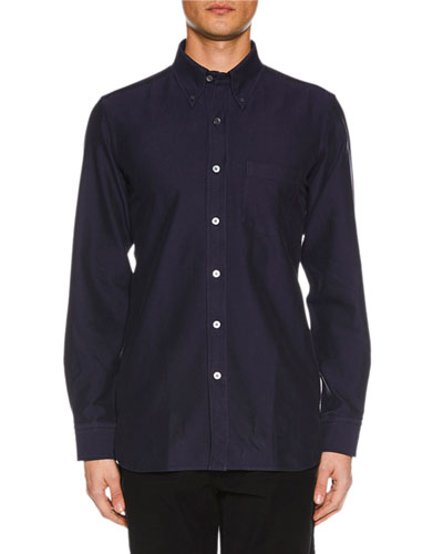 Men's Point-Collar Casual Button-Front Cotton Shirt