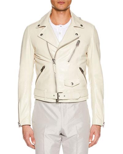 Men's Asymmetric-Zip Leather Biker Jacket