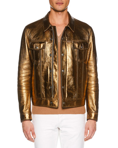 Men's Metallic Leather Jean Jacket