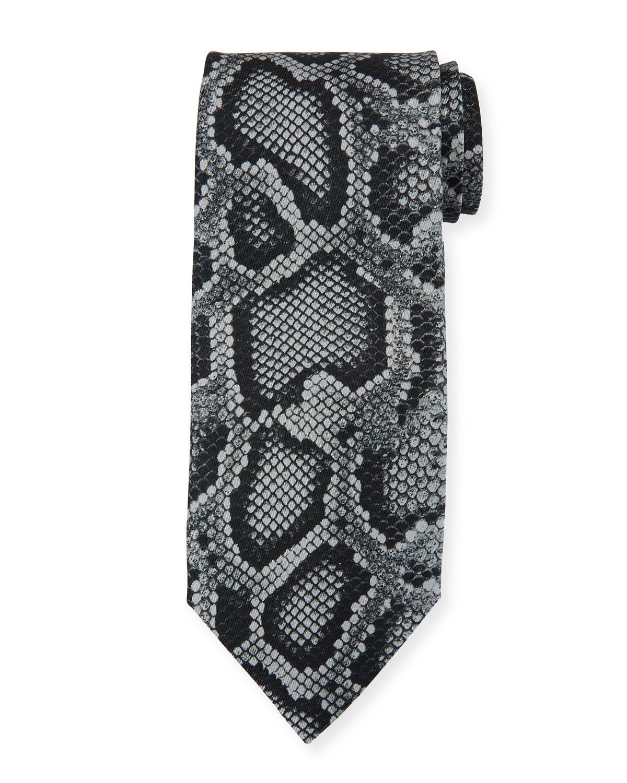 Snake-Print Silk Tie