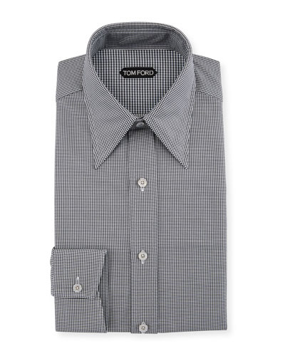 Men's Hopsack Pointed-Collar Dress Shirt