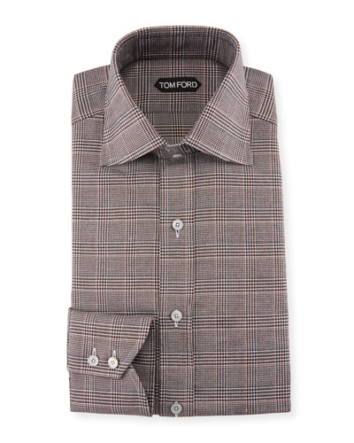 Men's Prince of Wales Twill High-Collar Dress Shirt