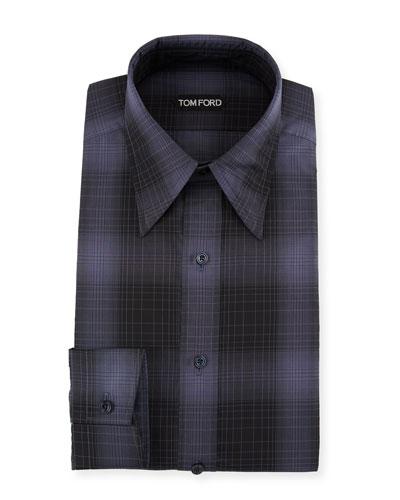 Men's Optical Check Pointed-Collar Dress Shirt