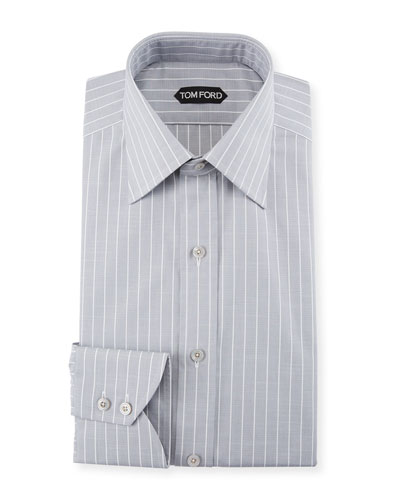 Men's Slim Fit Wide-Stripe Dress Shirt