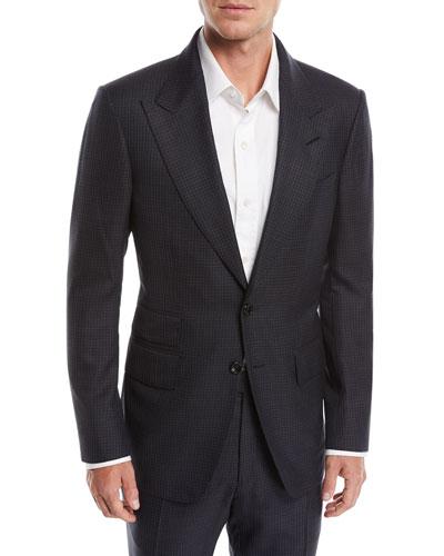Shelton Peak-Lapel Check Two-Piece Suit