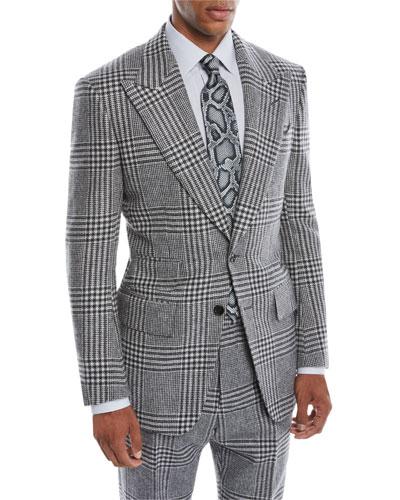 Men's Atticus Peak-Lapel Two-Button Glen Check Jacket