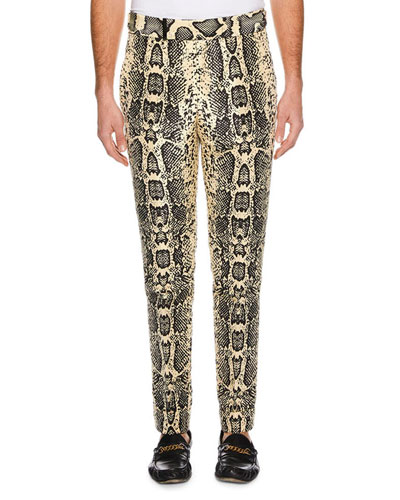Men's Snakeskin-Print Silk Pants