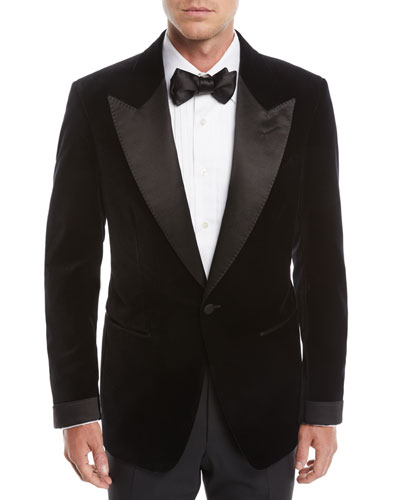 Men's Shelton Shawl-Collar Liquid Velvet Tuxedo Jacket