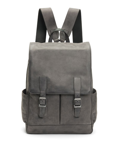 Men s Oliver Leather Buckle Backpack, Slate ed768ff85d