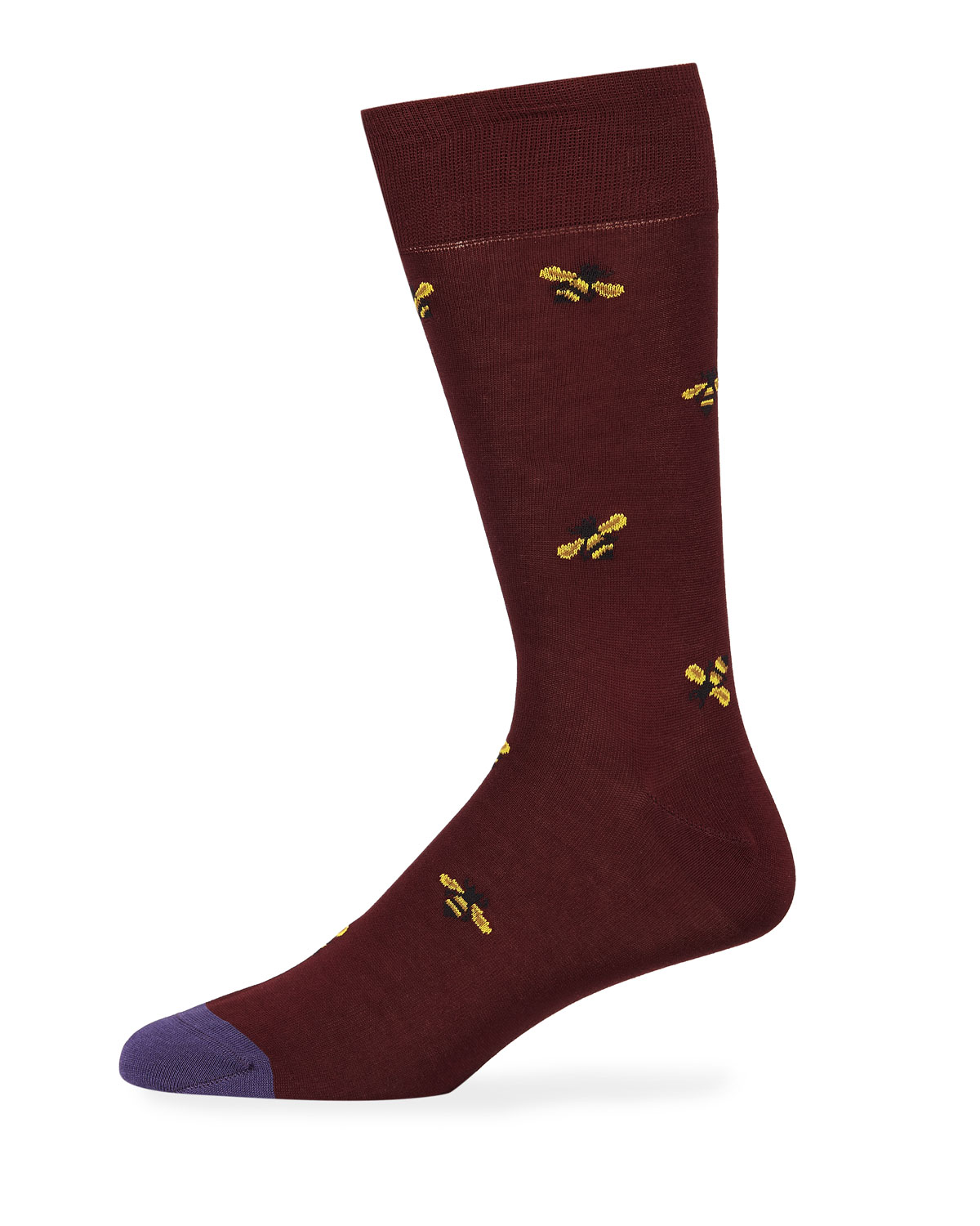 Men'S Bee Cotton-Blend Socks in 28.Burgundy