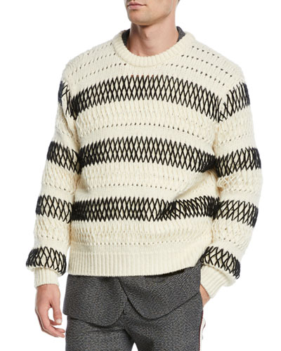 Men's Chunky Striped Wool Sweater