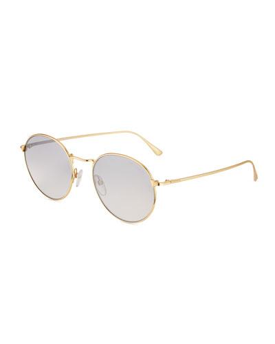 Men's Ryan Round Metal Sunglasses, Gold
