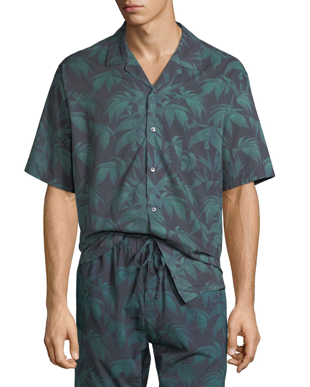 DESMOND & DEMPSEY Men'S Byron Cuban Short-Sleeve Shirt in Multi Pattern
