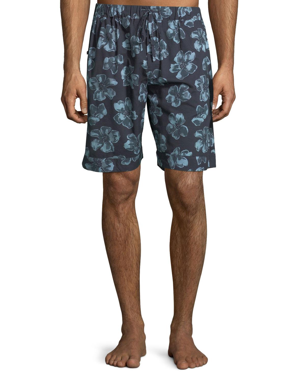 DESMOND & DEMPSEY Men'S Floral-Print Lounge Shorts in Dark Blue