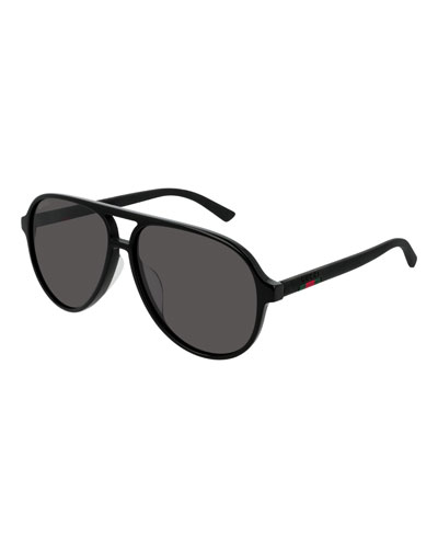 Men's GG0423SA001M Acetate Aviator Sunglasses
