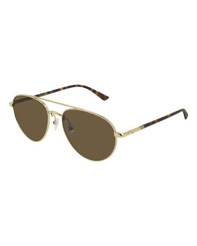 Men's GG0388S006M Metal Aviator Sunglasses - Polarized