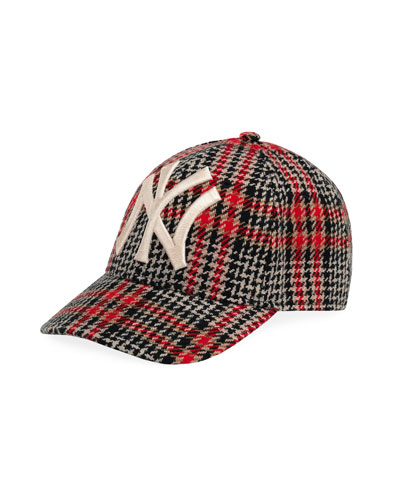 5ab7b1e3a94 Men s Houndstooth Baseball Cap with NY Yankees Applique